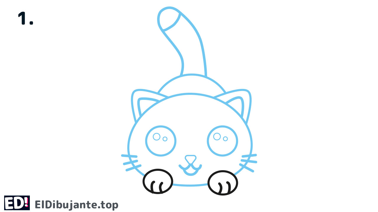 como dibujar un gato facil paso a paso