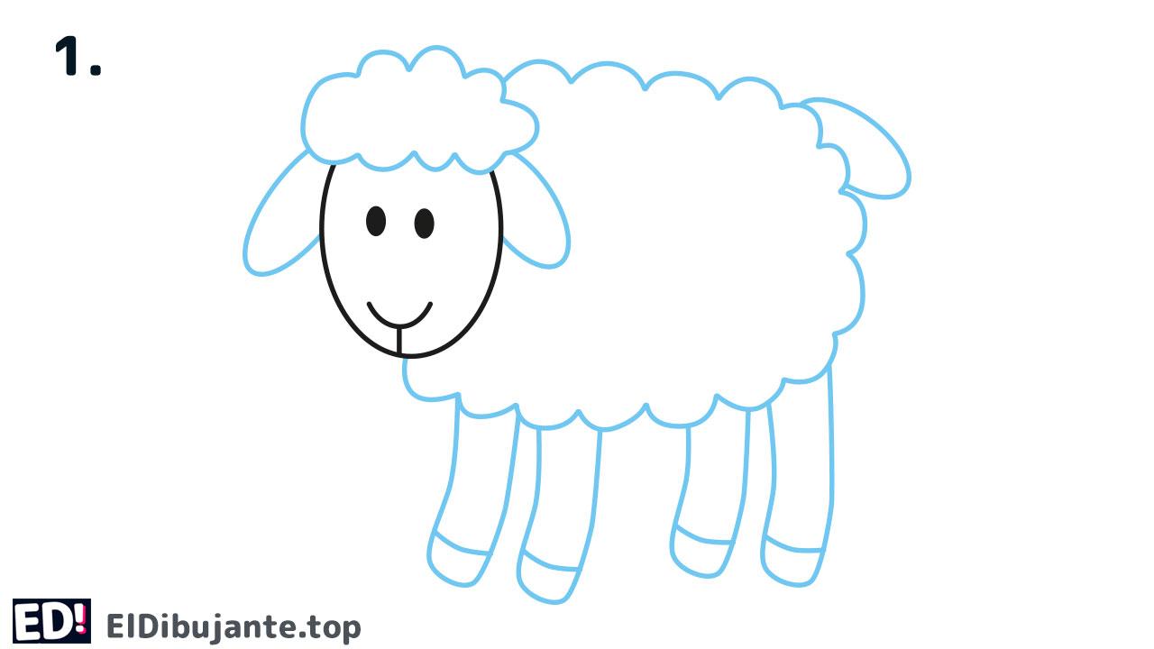como dibujar una oveja paso 1