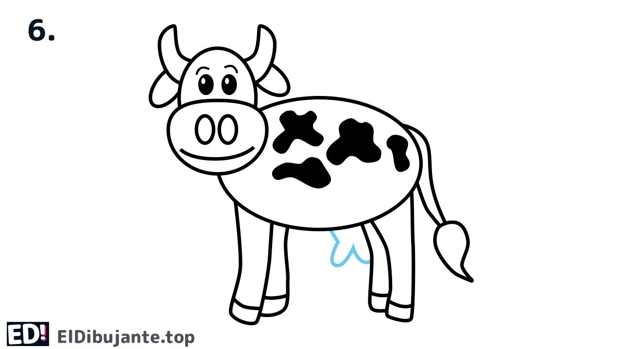 como dibujar una vaca paso 6