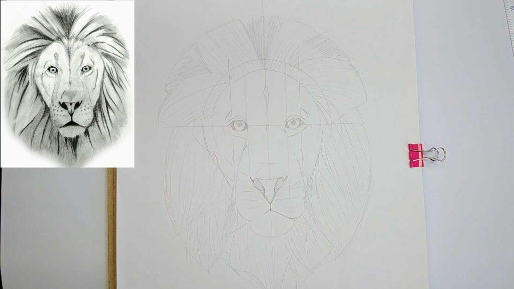 dibujo del boceto del rostro de un leon