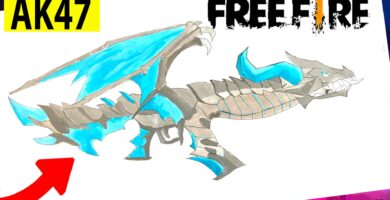 como dibujar free fire ak47 dragon flama azul